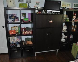 Modular set of three Ikea display shelving and storage cabinet