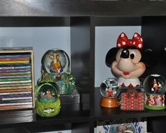 Fabulous Disney items, including Minnie Mouse teapot and many Disney character snow globes