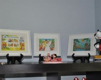 Framed Disney Limited Edition stamps issued in Canada, including Cinderella, Winnie the Pooh and The Lion King. All have numbered Certificates of Authenticity.