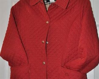 Authentic red quilted Burberry jacket
