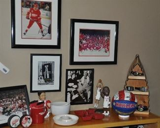 More Red Wing and Detroit Pistons memorabilia. Collection of men's watches.