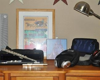 Stainless steel goose-neck lamp, head phones, Melmer flute with case and great headphones