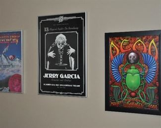 Framed Jerry Garcia and The Grateful Dead posters