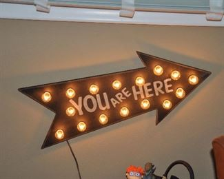 """""""You Are Here"""" arrow light wall art on wood board, 22"""" x 10"""""""