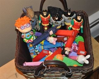 Assortment of Pez containers, Batman and Robin spin box candy containers