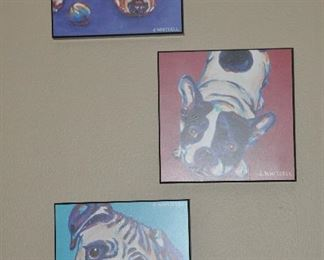 """Sample of 9 woodblock dog prints by J. Whitsell 8""""x 8"""""""