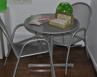 """Silver Aluminum 3-pc. Bistro Set. Table is a Tilt Table from Leon & Lulu, 27.5"""" x 28"""".  Chairs are from Room & Board."""