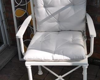 """Great painted white metal chair. Pottery barn cushions sold separately.  Chair is 22""""w x 36""""h x 13""""d"""