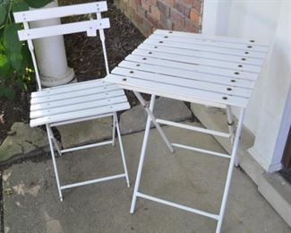 """White metal folding chair and table, 20""""w x 28""""h x 20""""d"""