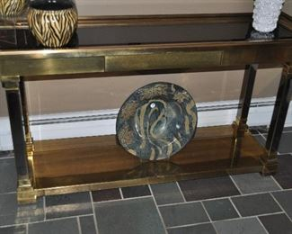"""Antique brass Foyer Table with glass shelves, 62""""w x 30.5"""" h x 18""""d"""