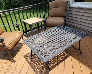 """Cast Aluminum Bistro Table and Chairs Martha Stewart Table 41"""" W x 28.5"""" D x 20"""" T Chairs 28"""" W x 32"""" D x 36"""" H"""
