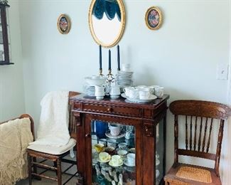 Mahogany Display Cabinet, Antique cups & saucers, shoes and more.