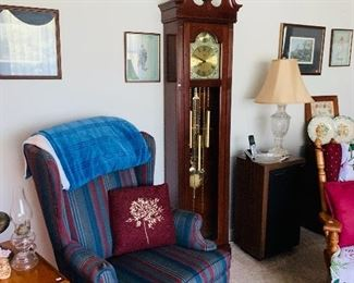 Grandfather Clock, Wingback Chair