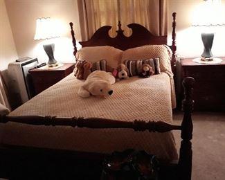 Complete solid wood bedroom set. Queen Bed, 2 night stands, dresser, chest