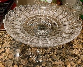 Signed Hawkes cut glass large footed compote