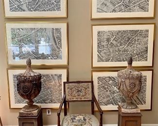 An incredibly interesting and beautiful sale!  Set of six beautifully framed antique large maps showing areas of Paris, France.