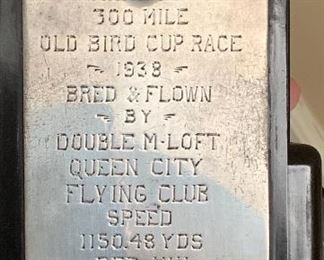 1938 pigeon racing trophy - Queen City racing club