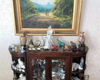 Oil Paintings, elephants and buddha figurines