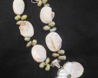 Sterling, Pearls and Semi Precious  Necklace.