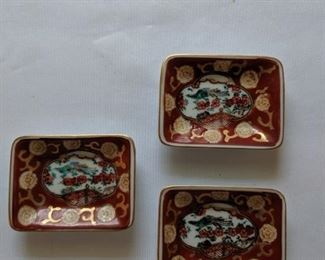 """$15 Gold Imari small dish set   This is a set of 3 Gold Imari's Japanese gold, red green and white retangle sauce bowls. They are Handpainted. It is 3.5 in wide and 2.75"""" deep. On the bottom is the Gold Imari mark. There are no chips, cracks or crazing. It is in excellent condition. A beautiful home decor."""