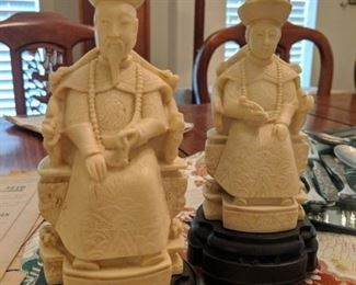 VINTAGE CHINESE EMPEROR EMPRESS STATUES