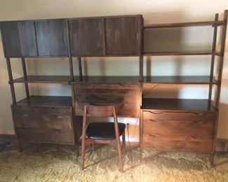 Wooden Wall Unit & Side Chair Danish Back  https://ctbids.com/#!/description/share/185391