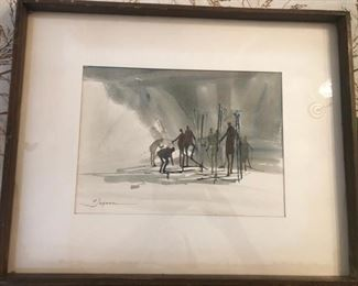 MCM Jagman Skiers Original Watercolor https://ctbids.com/#!/description/share/188233