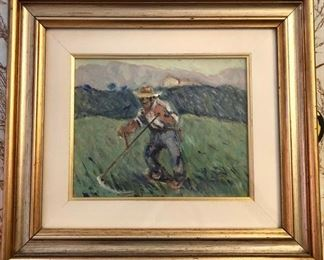 "Muchetti Original Oil ""Man with Scythe"" https://ctbids.com/#!/description/share/188237"