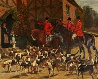 G. D. Rowlandson Greyhound Inn Fox Hunt Painting