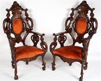 PAIR ITALIAN CARVED GROTTO CHAIRS