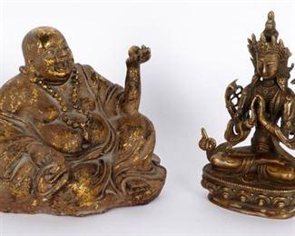 Parcel Gilt Bronze Decorated Hotei Seated Buddha &  Sino-Tibetan Bronze Seated Buddha Avalokiteshvara