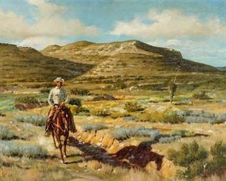 1967 Mark Storm Texas Cowboy in Landscape