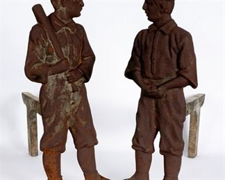 Pair Early 20th C Figural Baseball Player Andirons