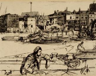 James A. M. Whistler Black Lion Wharf Etching
