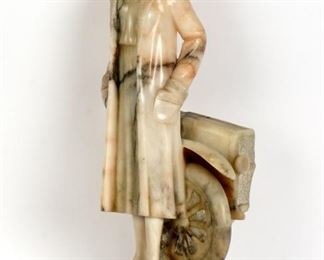 Italian Carved Alabaster Female Race Car Driver
