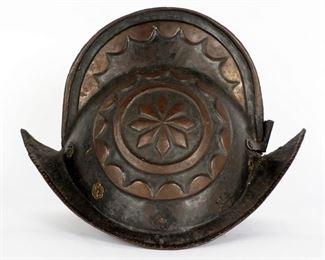 Continental Embossed Iron High Comb Morion Helmet