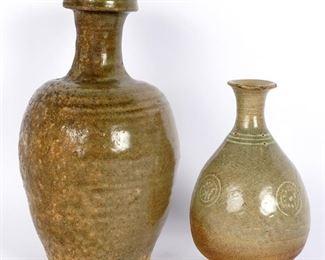 Two Antique Korean Celadon Vases