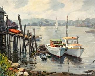 Jacob Greenleaf Gloucester Harbor Painting