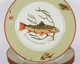 Four Tiffany Co. Trout Plates