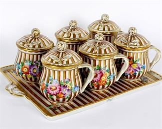 Dresden Porcelain Tray Covered Demitasse Cups