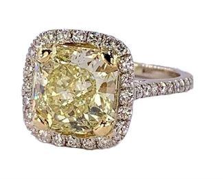 4.17ct Fancy Yellow Diamond & 18k White Gold Ring