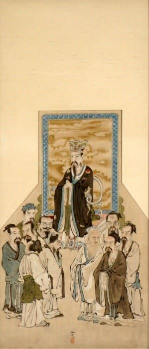 Japanese Edo Period Confucius Silk Scroll