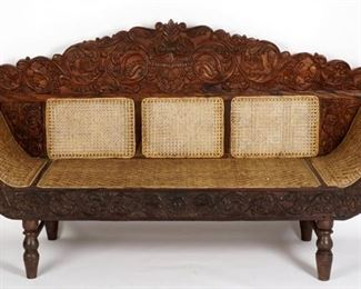 C. 1900 Anglo Indian Carved and Caned Sofa