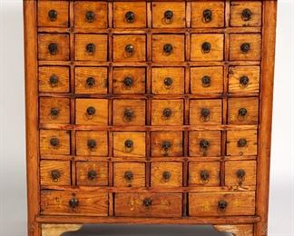 19th Century Chinese Elm Apothecary Chest
