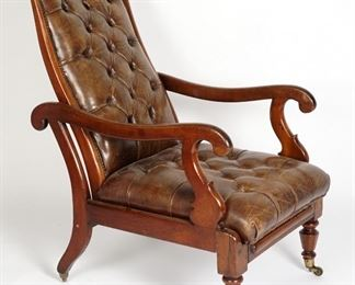 William IV Leather Lolling or Library Chair