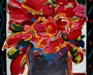1995 Peter Max Mixed Media Flowers