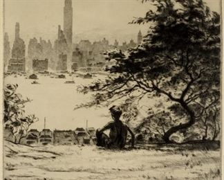 Martin Lewis From Hoboken Heights Drypoint Etching