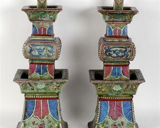 Impressive Pair Tongzhi Marked Chinese Candlesticks