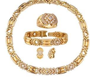 Boucheron Paris 18K Diamond Ring, Earings, Bracelet, and Necklace