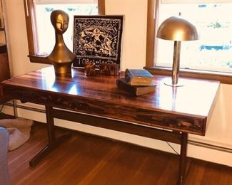 Brazilian Rosewood Mid Century Desk Possibly Baughman